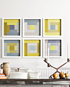 These striking silk-taffeta squares are like a deconstructed quilt. They are also an exploration of color, inspired by the work of Bauhaus designer and 20th-century abstract artist Josef Albers. (marthastewart.com)