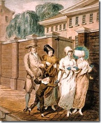 John Lewis Krimmel (German-born American artist, 1786-1821) Sunday Morning in front of the Arch Street Meeting House in Philadelphia