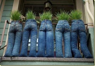 jeans with plants