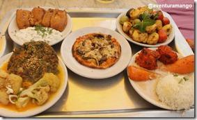 Almoço com pratos vegetarianos