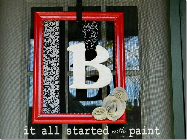 picture_frame_monogram_wreath_black_and_white_and_red