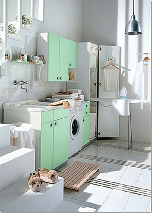 green-laundry-room-design