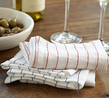 A busy household is always in need of extra dish towels. I would love to have a few of these thin-striped towels.  (potterybarn.com)