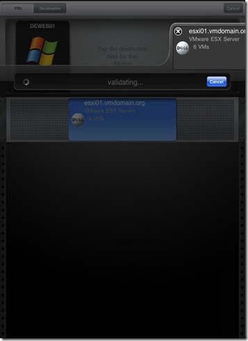 iPad vSphere Client VM vMotion validating