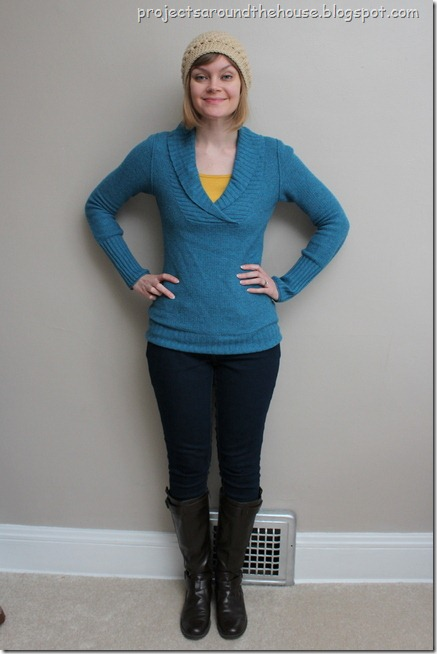 blue sweater, mustard tank
