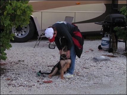 Karen rescuing a puppy