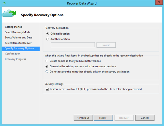 Recover Data Wiz - Recovery Options