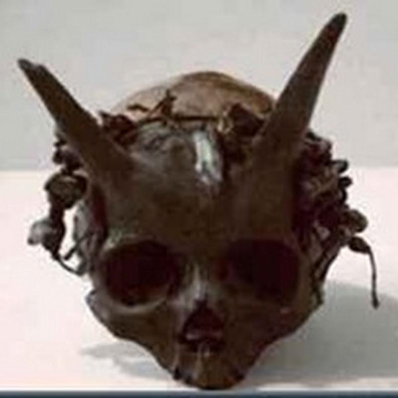 Crânios humanos gigantes com chifres