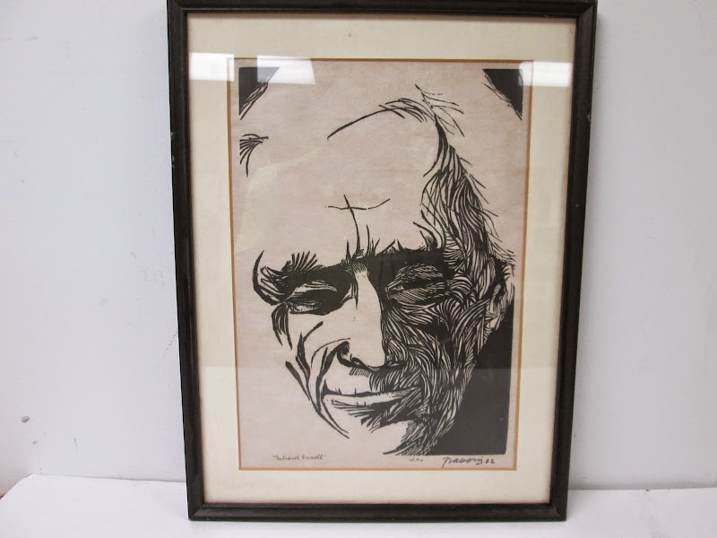 Signed Woodblock Portrait