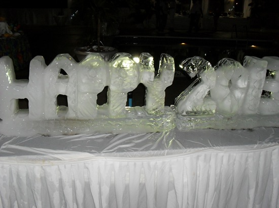 An ice sculpture wishing everyone a Happy 2013