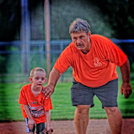 Wait a minute!! by Robert D Brozek - Sports & Fitness Baseball ( orange, colorful, bright, baseball, sport, t-ball, brown, youth,  )