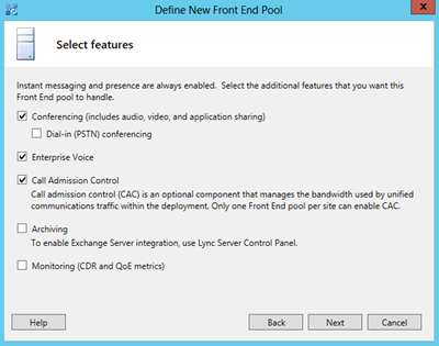 define new front end pool select features