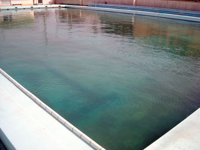 A high level of radioactive cesium was found in mud at the bottom of this swimming pool at a public high school in Fukushima Prefecture. Photo: Provided by a teacher / Asahi Shimbun