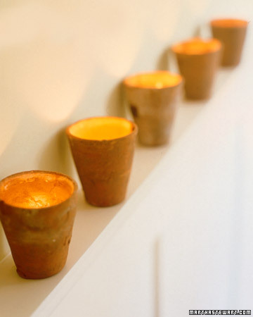 Handmade votive candles are wonderful small gifts! I love seeing these lined up on a mantel.