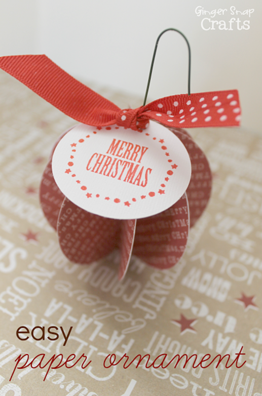 easy paper ornament tutorial from GingerSnapCrafts.com