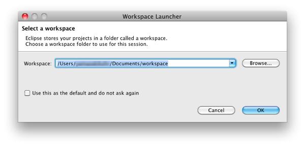 Mac eclipse workspace launcher