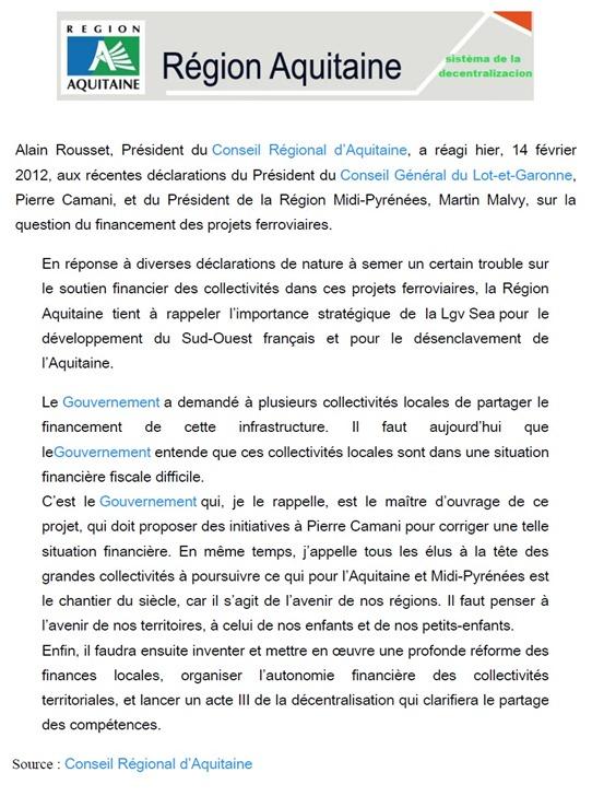 comunicat Conselh Regional d'Aquitània LGV