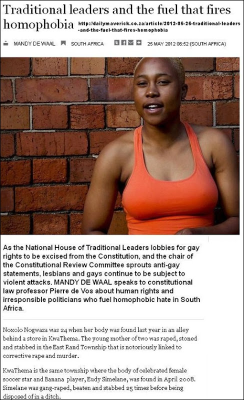 HOMOPHOBE MURDERS SOAR AFTER TRIBAL LEADERS ORDER ANC TO STOP PROTECTING GAYS