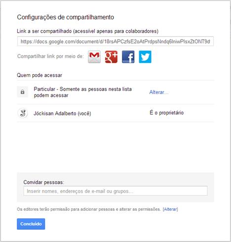 Configurações de compartilhamento - Google Drive