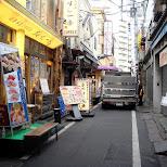 alley way sushi shops at tsukiji fishmarket in tokyo in Ginza, Tokyo, Japan