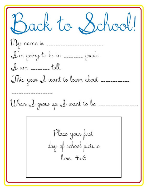 Back to School Printable from Poofy Cheeks