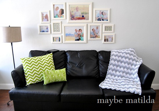 Living Room with Chevron Crochet Throw by maybe matilda