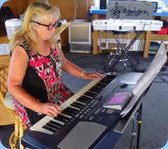 Desiree Barrows playing her Korg Pa500.