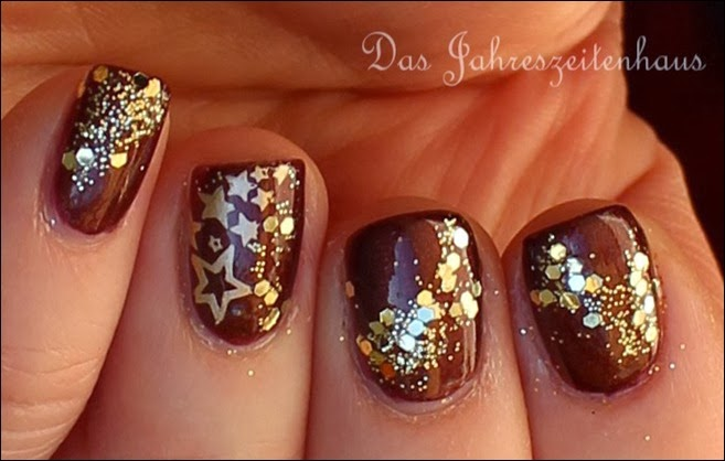 Weihnacht Nageldesign Winter Sterne Gold 2