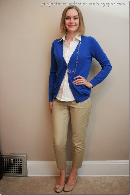 cobalt cardigan, tan ankle pants