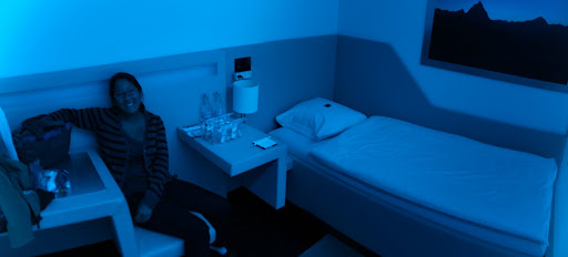 "Day room at the Swiss First Lounge in Zurich.  Here it is in ""blue mode."""