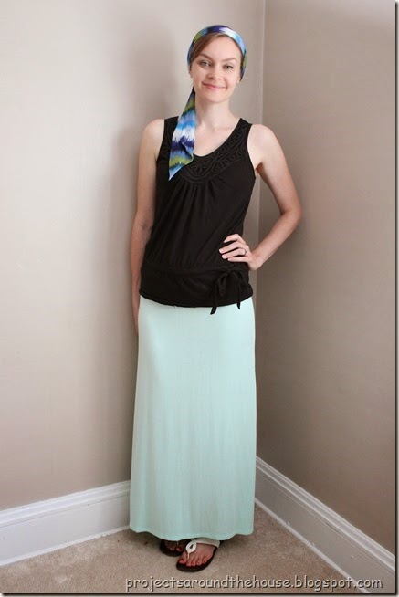 Black tank, mint maxi skirt, head scarf