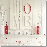 Valentine's red and white mantel 4
