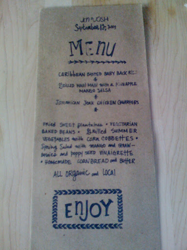 The wedding-day menu, also designed by the bride, listed the organic and local fare.