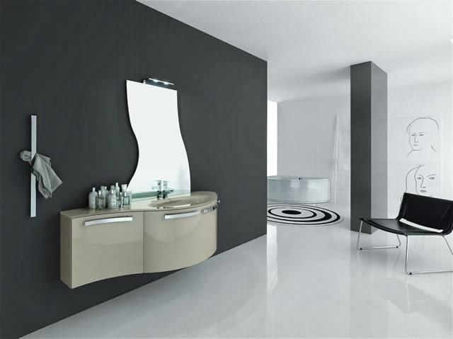 Bagno azzurra mod metropolis canapa lucido con specchio sagomato piano in vetro con lavabo fuso - Complementi di arredo bagno ...