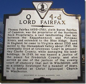 Lord Fairfax marker Q-4d in Winchester, VA