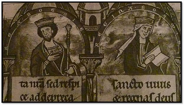 Reyes Otakar de Bohemia y Constanza de Hungría, padres de Guglielma de Bohemia.
