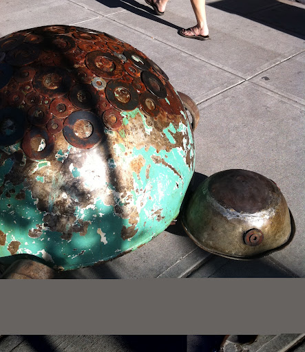 ...And a giant metal turtle!