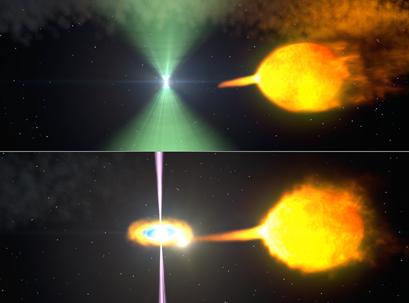 ilustração de um modelo do pulsar J1023