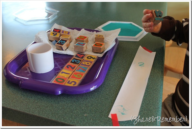 Preschool Activity Trays - Number Stamping