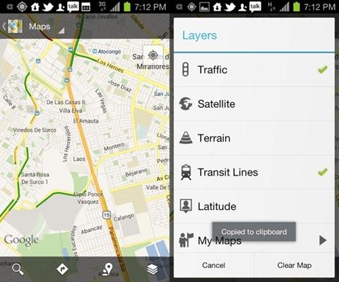 trafico en google maps desde android