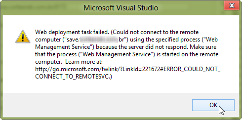 Figure 2 - Visual Studio 2012 Publish project with detailed ERROR information
