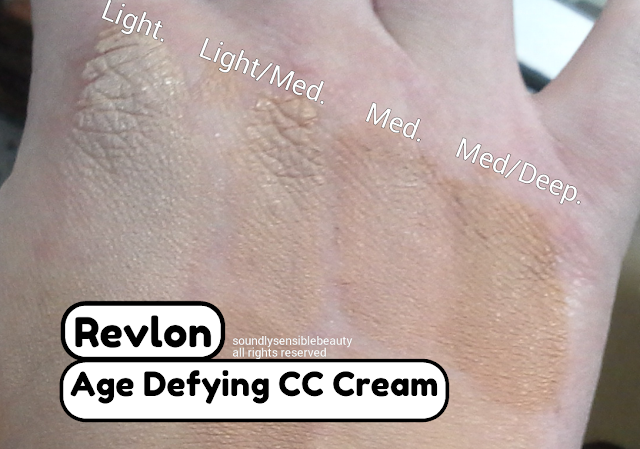 Revlon Age Defying CC Cream SPF 30, Review & Swatches of Shades. (Light, Light Medium, Medium, Medium Deep)