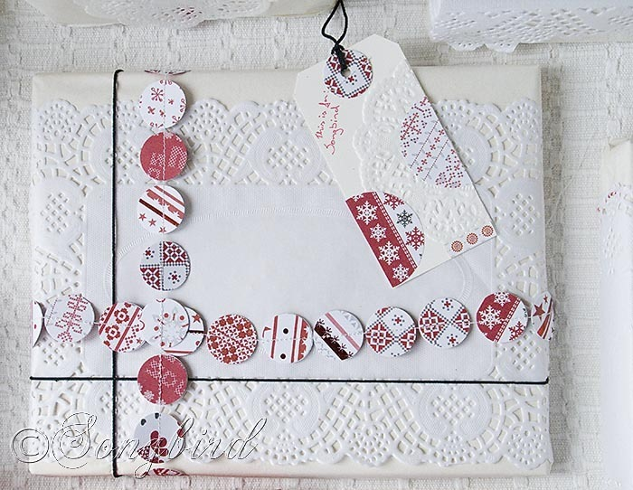 Songbird Christmas White Red Gift Wrapping 4