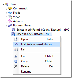 'Edit Rule in Visual Studio' context menu option for a code business rule.