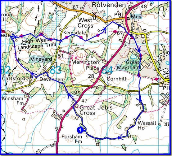 Our route - 9km, 130 metres ascent, 2 hours