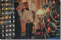 A Christmas-themed computer screen saver.