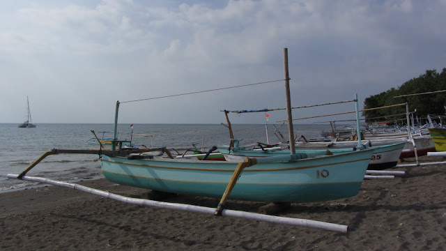 The small traditional outriggers used for dolphin spotting.