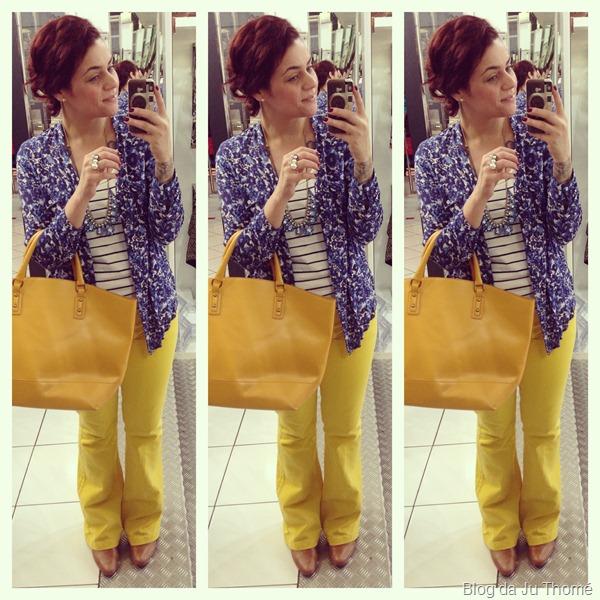 look calça amarela, camisa floral renner, colar renner e blusa listrada (1)
