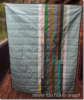 green scrappy strippy back showing quiltng