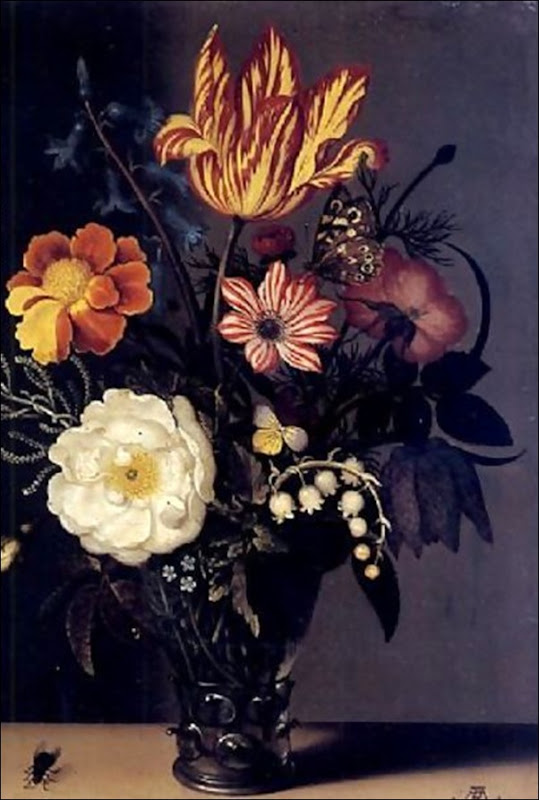 Nature morte au bouquet de roses, tulipes et muguet